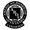 american board of opticianry certified badge
